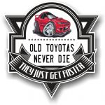 Koolart OLD TOYOTAS NEVER DIE Motif For Retro Red Celica GT4 Vinyl Car Sticker Decal Badge 100x100mm